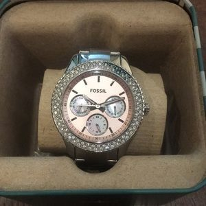 Fossil pink and silver watch